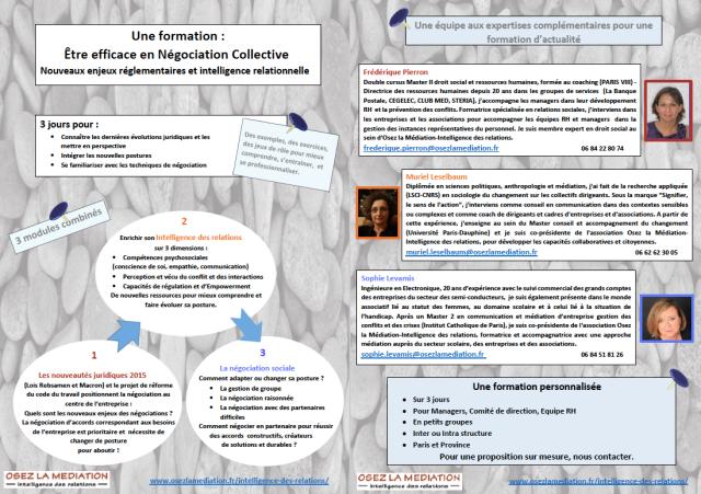 Formation Négociation collective - Intelligence des relations février 2016